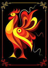 Graphic illustration with a fiery cock 1