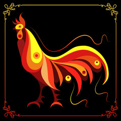 Graphic illustration with a fiery cock 2
