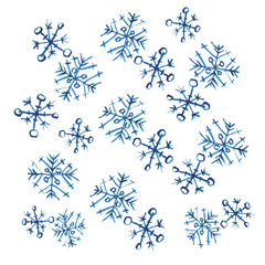 Hand drawn doodle watercolor snowflakes. Winter and Christmas pattern