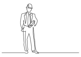 continuous line drawing of - construction engineer
