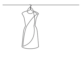 one line drawing of isolated vector object - woman dress on hanger