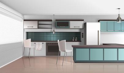 Daylight Kitchen Interior Composition