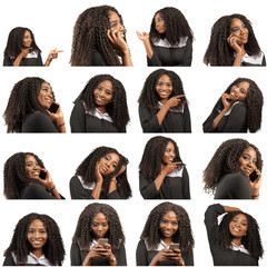 Collage of beautiful afro woman