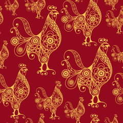 Seamless pattern with lace cock 24