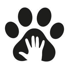 hand in the dog's paw on a white background