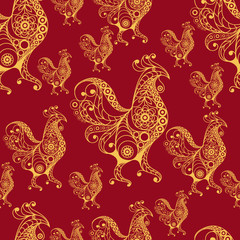 Seamless pattern with lace cock 27