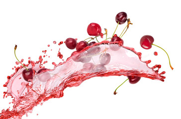 splash of juice with cherries
