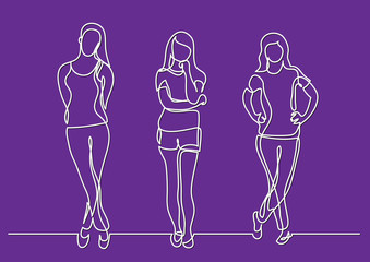 continuous line drawing of standing young women