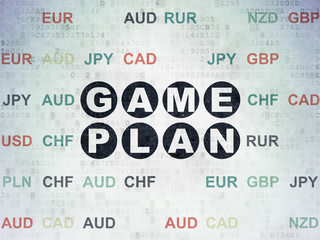 Finance concept: Painted black text Game Plan on Digital Data Paper background with Currency