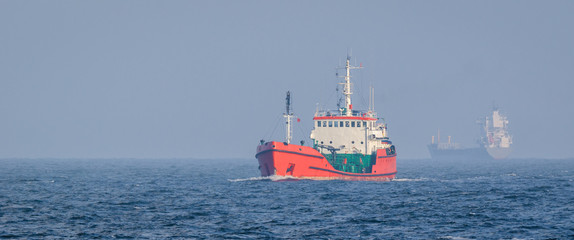 TANKER - red ship to carry fuel at sea