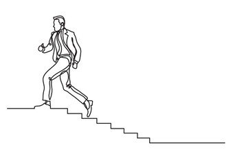 one line drawing of man climbing career ladder