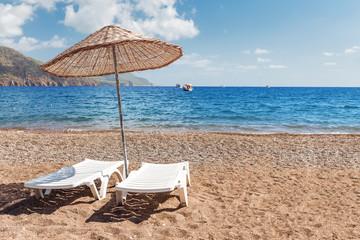 Printed kitchen splashbacks Turkey Sunbeds on sandy beach in Turkey