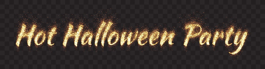 Hot Halloween Party Text Vector Bright Flaming Glowing Lettering Banner on Transparent Background