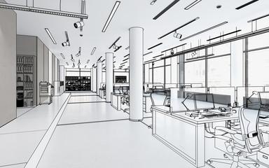 Bürofläche mit Einrichtung (Konzept)