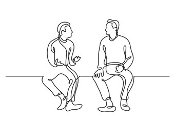 one line drawing of two sitting men talking