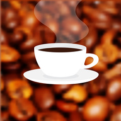 Cup of fresh hot coffee with scent Label on the blur background coffee texture