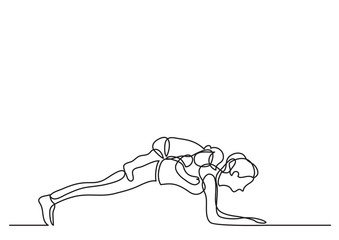 one line drawing of mom doing pushups with her baby on her back