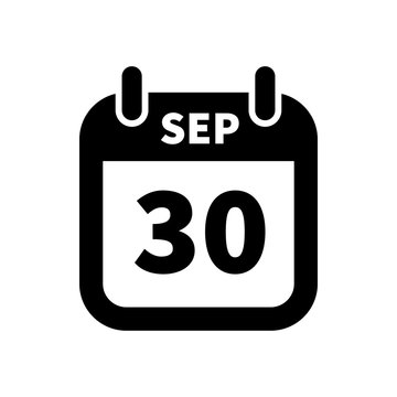 Simple black calendar icon with 30 september date isolated on white