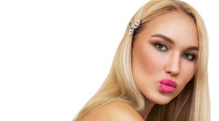 Close up Portrait pretty blonde woman sends kiss. Beautiful girl with bright makeup. Expressive facial expressions. Sexy big Lips with Pink shiny Lipstick. Glitter lip Makeup, persistent Lip Gloss.