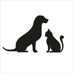 dog with a cat on a white background