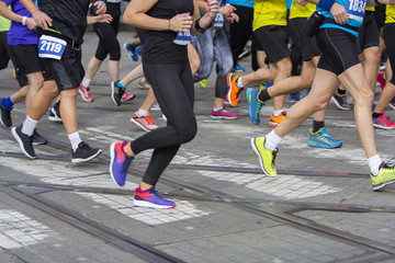 Marathon running race on the city road