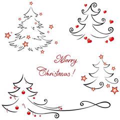 Set of christmas tree graphics