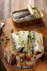 Sardines on wholegrain bread fresh sandwich