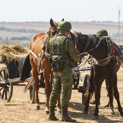 NOVOCHERKASSK, RUSSIA, 26 AUGUST 2017: Modern Russian soldier in full camouflage uniform is feeding the horses