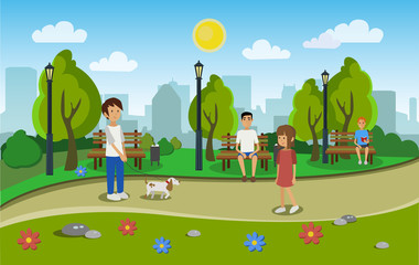 City park with people. Vector illustration.