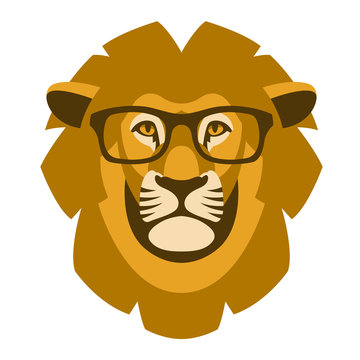 lion head face in the glasses vector illustration flat
