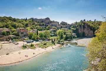 River Ardeche near the old village Balazuc in the Ardeche region of France