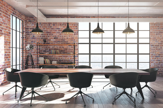 Red brick conference room