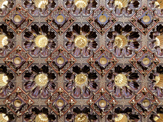 Wooden golden ceiling at the public mosque of Manial Palace of Prince Mohammed Ali Tawfik, Cairo, Egypt