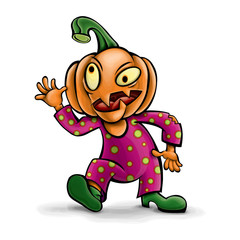 Vector character is a crazy pumpkin. Halloween.