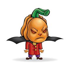 Pumpkin. Evil vector character. Halloween.