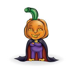 Pumpkin. Vector mocking character. Halloween.
