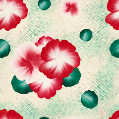 A seamless pattern with watercolor one stroke painting on the canvas. Hand drawn folk flowers and leaves.