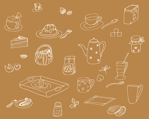 Hand-drawn vector wallpaper of breakfast ingredients and snacks, isolated
