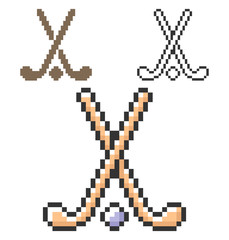 Pixel icon of field hockey in three variants. Fully editable
