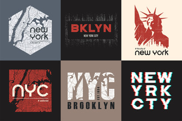 Set of six New York t-shirt and apparel designs. Vector print, t