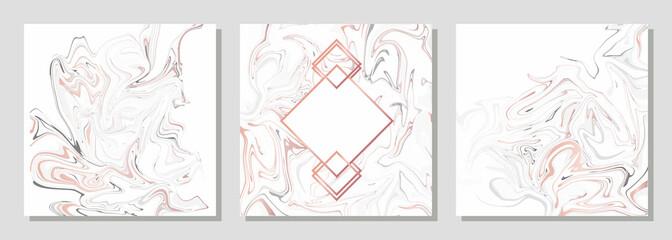 Elegant  creative card templates set. Marble Texture  and golden foil details.