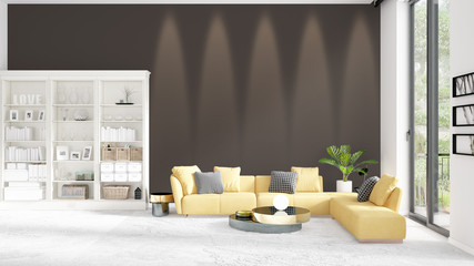 Scene with brand new interior in vogue with white rack and yellow couch. 3D rendering. Horizontal arrangement.