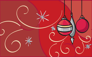 Red and Silver Ornaments on a filigree inspired background.