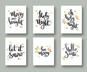 Christmas cards and gift tags with calligraphy. Handwritten modern lettering. Handwritten Christmas wishes for holiday greeting cards. Handdrawn lettering. New Year card. Vector.