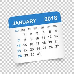 January 2018 calendar. Calendar sticker design template. Week starts on Sunday. Business vector illustration.