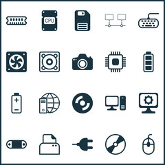 Hardware Icons Set. Collection Of Computer Ventilation, Blank Cd, Diskette And Other Elements. Also Includes Symbols Such As Gear, Ventilator, Connector.