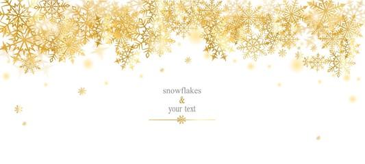 card with golden snowfakes on white
