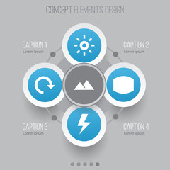 Picture Icons Set. Collection Of Flash, Wb Iridescent, Refresh And Other Elements. Also Includes Symbols Such As Iridescent, Filter, Lightning.