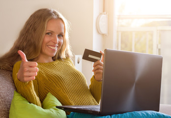 Girl shooping online with card