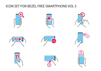Vector icon set of hand holding frameless smartphone in different positions with app symbols for like, dislike, streaming, online banking, new, synchronization, internet search, number one ranking.
